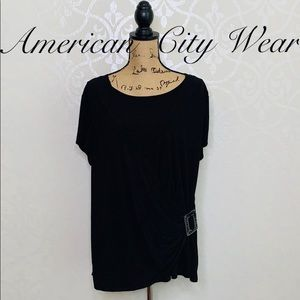AMERICAN CITY WEAR BLACK FAUX WRAP TOP SIZE 1X